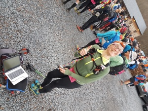 Paula IJzerman, only female finisher Legends Trail 2016. This year I had to upload the maps on her GPS, 5 minutes before the start